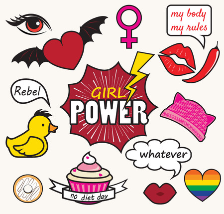 feminist: Girl power patches vector emblem design. Cute badges with lips, hearts and feminist symbols. Illustration