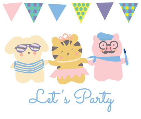 lets party: Cute little animals friends dog tiger and pig. Child drawings style vector. Text Lets party and bunting banners.
