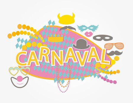 mustaches: Carnaval masks and mustaches vector.