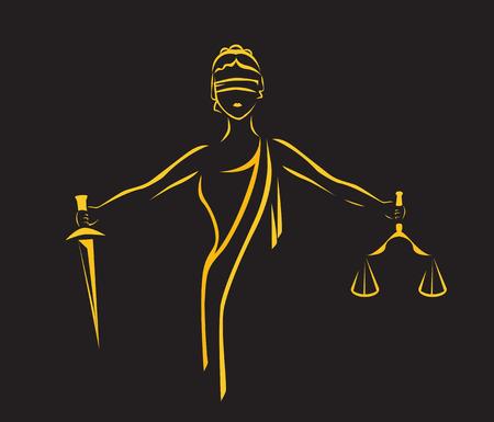 Gerechtigkeit Göttin Themis, Dame Gerechtigkeit Femida. Stilisierter Konturvektor. Blinde Frau Waage und Schwert.