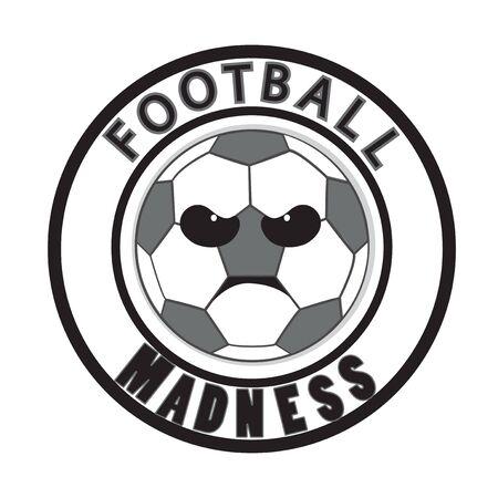 madness: Football madness vector. Tournament logo icon. Angry ball cartoon. Soccer ball. Illustration