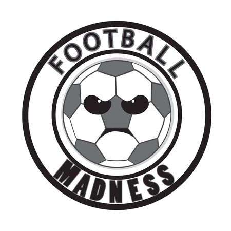 Football madness vector. Tournament logo icon. Angry ball cartoon. Soccer ball. Illustration