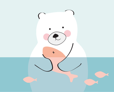 Bear holding a salmon child drawings vector. Polar bear hunting on water.