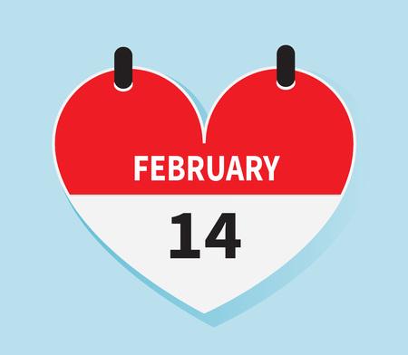 fourteen: Valentines day calendar icon vector. 14th February heart shape flat design. Illustration