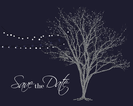Lights on tree vector. Save the date background. Night glowing lamps hanging on party decoration.