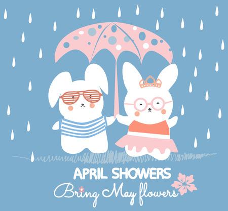 Des lapins mignons s'amusant. Les averses d'avril apportent des fleurs de mai.