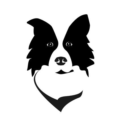 Border collie głowa wektor ikona logo. Prosty design twarzy psa.