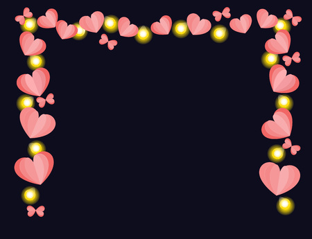 Paper hearts and glowing lights string frame vector on black background. Valentines day or wedding border.