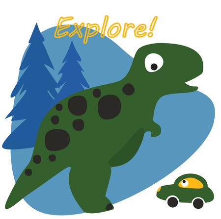 Cute car on the back of a dinossaur funny cartoon vector. Baby fashion design.
