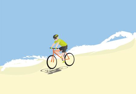 Man ridding bike on the beach vector illustration. Biker outdoor sports simple design. Illustration