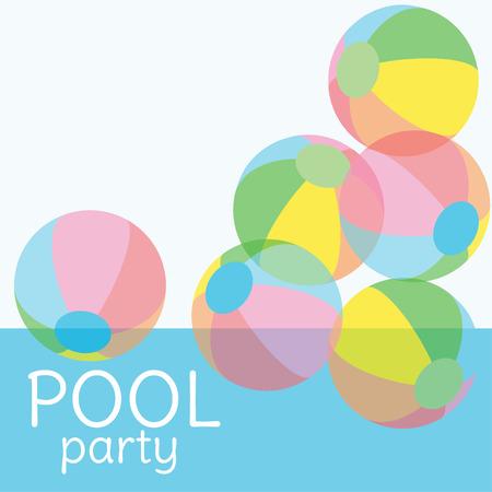 テキスト用のコピースペースを備えたプールパーティー招待ベクトルの背景。プールでカラフルな透明ボール。