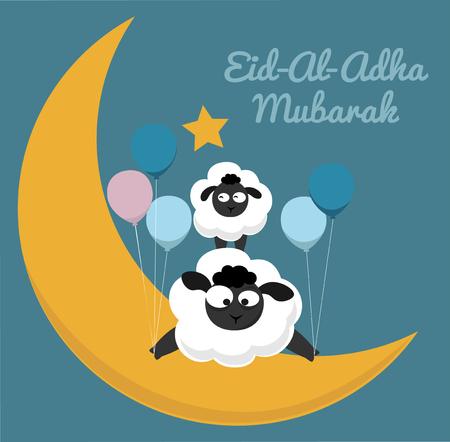 Eid al adha mubarak muslin holiday with Funny lambs cartoon style