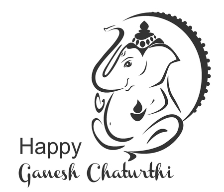 Happy ganesh chaturthi vector. Stylized elephant hindu god. 向量圖像