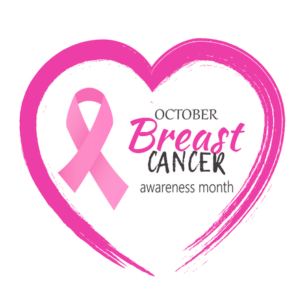 October Breast Cancer awareness month heart and pink ribbon vector. 일러스트