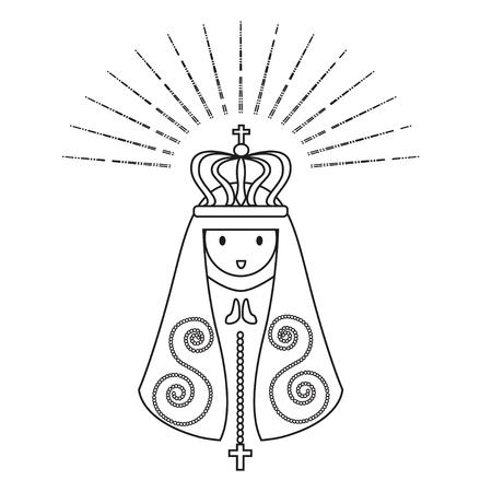 Our Lady of Aparecida is Nossa Senhora Aparecida patroness of Brazil. Blessed Virgin Mary line art vector.