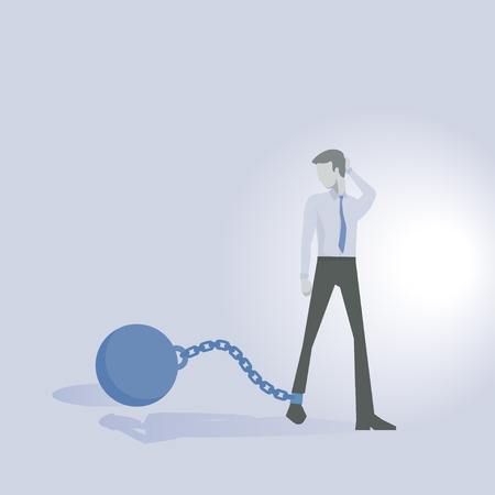 stylized banking: Business man or executive worried concept debt vector. Illustration