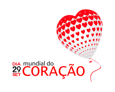 Dia Mundial do Coração is World heart day in portuguese. Vector illustration.