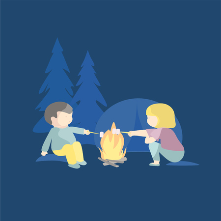 Children eating marshmallows on campfire vector illustration. Boy and girl having fun camping.