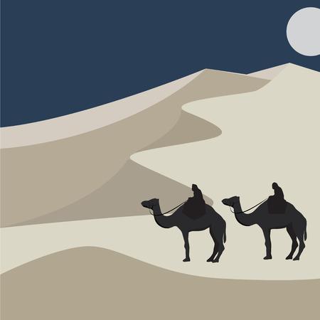 Camels in the desert vector. Sand dunes illustration. Minimalist style.