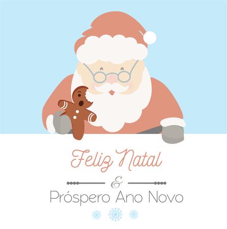 Santa Claus and portuguese message Feliz Natal and Prospero Ano Novo; means Merry Christmas and Happy New Year. Christmas vector. Ilustração