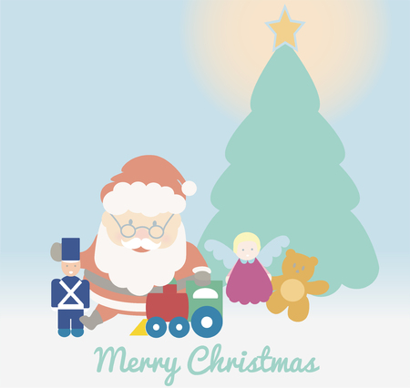 Santa Claus playing with toys under the Christmas tree. Cute Merry Christmas vector. Illustration