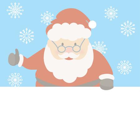 Santa Claus cartoon with copy space for text. Christmas vector.