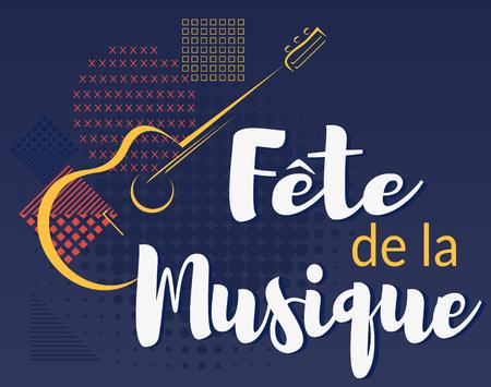 Fete de la musique. Musikfestival auf Französisch. Vektorillustrationshintergrund.