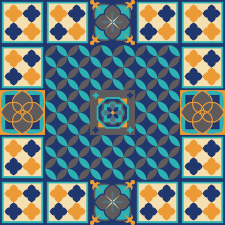 Moroccan tiles floor design vector illustration. Çizim
