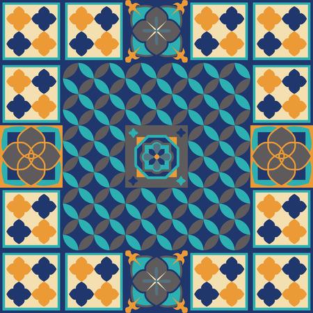 Moroccan tiles floor design vector illustration. Vettoriali