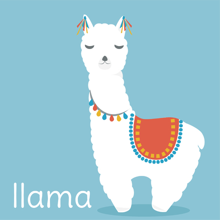 Cute llama vector illustration.