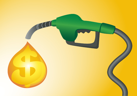 Expensive fuel concept vector. Gas station pump background.