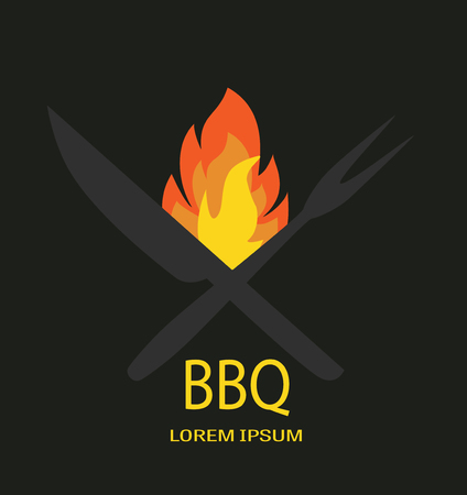Barbecue icon logo vector. BBQ fire knife and fork on black backround.