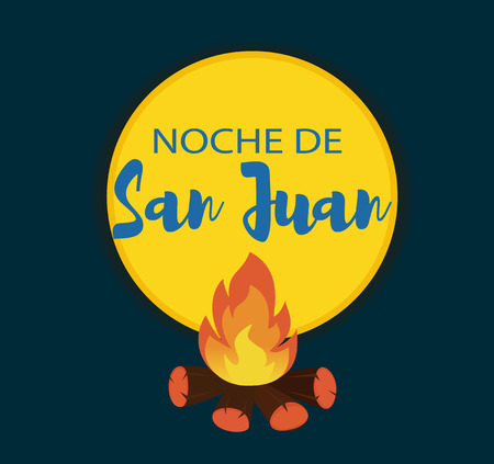 Noche de San Juan. Night of Saint John in Spanish language. Vector illustration background.