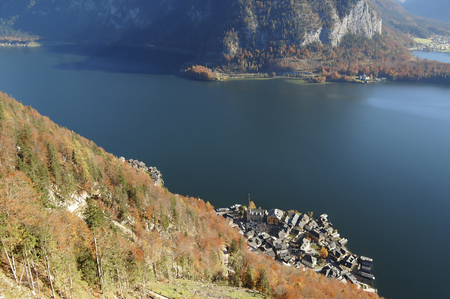 aereal: Hallstatt, Austria aereal view from the mountain Stock Photo