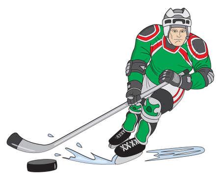hockey player: Cartoon style hockey player skating while holding stick
