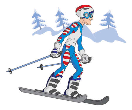 snowed: Cartoon style smiling skier on the snow with fir trees and snowed mountains in background