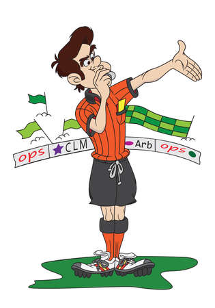 foul: Cartoon style occer referee whistling a foul; supporters in background.