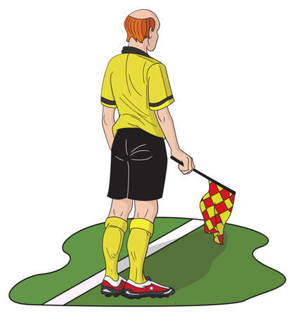 sideline: Cartoon style linesman holding the flag along sideline