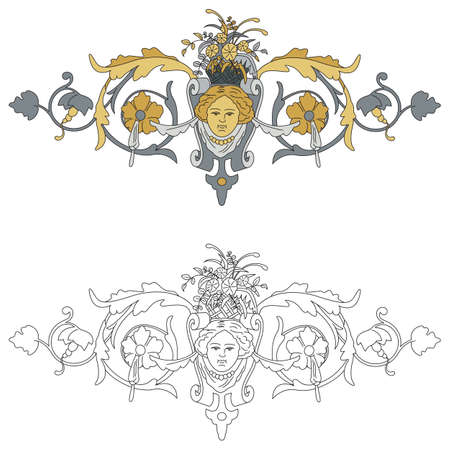 interpretation: Interpretation of coat of arms with cherub black outline and colored with shades of gold and silver