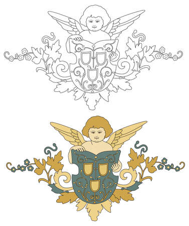 interpretation: Interpretation of coat of arms with angel and shield; black outline and colored with shades of gold and silver