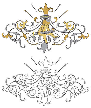 neoclassical: Interpretation of coat of arms with cherub black outline and colored with shades of gold and silver