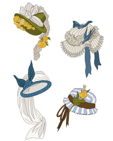 women s hat: bonnets  of  late nineteenth century