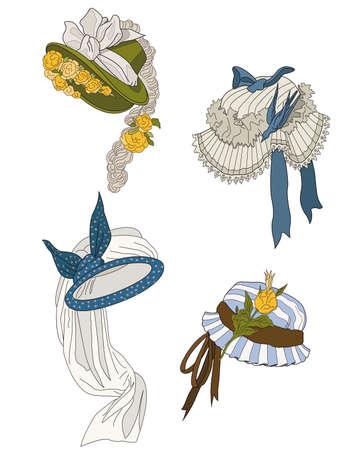 women s hat: bonnets  of  late nineteenth century