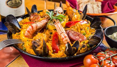 Paella, traditional sangria, wine, Spain, restaurant