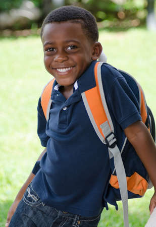 school age boy: Ready For School Stock Photo