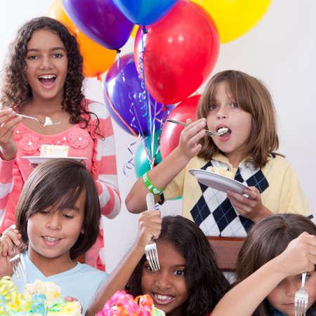 birthday party kids: Birthday Cake Stock Photo