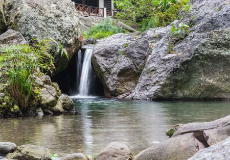 kingston: Little waterfall at a peaceful spa called Serendipity in Kingston, Jamaica