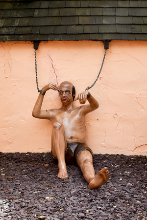 fibreglass: Chained up prisoner dummy Stock Photo