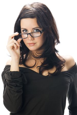 really: a nice portrait of young and really cute brunette with black glasses