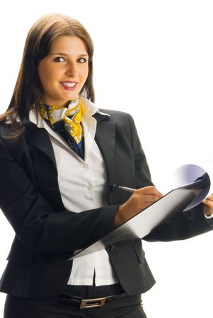 tailleur: young and nice woman in a black tailleur working as a hostess and checking list Stock Photo